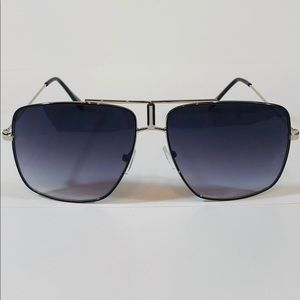 Other - Silver/Black Large Square Aviator Sunglasses
